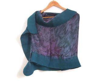 felted silk shawl, green violet