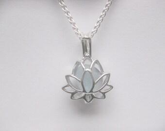 Seaglass necklace SS Lotus Sea Glass pendant Flower necklace Sea Glass Jewelry Beach Glass Jewelry Handmade, Custom Jewelry