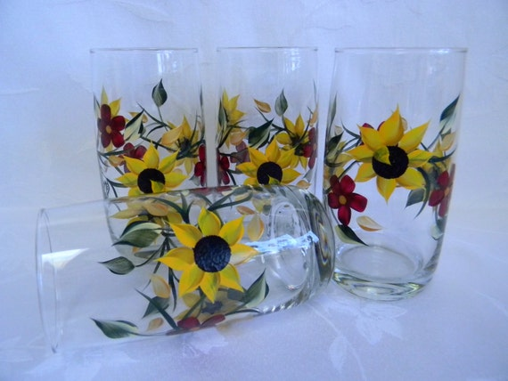 Drinking glasses hand painted glasses sunflower glasses for Hand painted drinking glasses