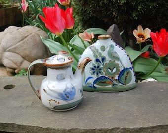 Ken Edwards Traditional Mexican Folk Art Stoneware Teapot, Coffee Pot, Chocolate Pot, Champurrado ~ Signed Ken Edwards Birds & Butterflies