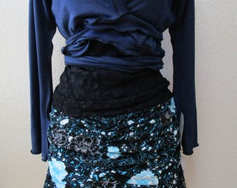 Mix color with gathered design knee length skirt plus made in USA (v38)