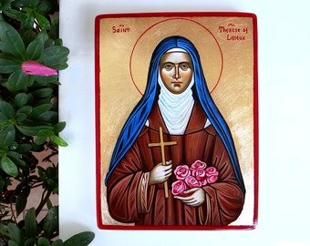 St. Therese of Roses, St Therese of Lisieux icon, custom handpainted icon, 8 by 6 inches, MADE to Order