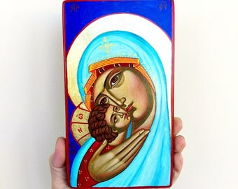 Mary and Christ child icon, Eleusa original icon, 7 1/2 X 4 inches,  handpainted orthodox icon