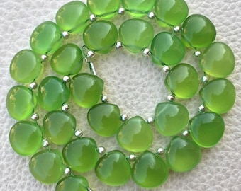 5 Matched Pair, PARROT GREEN Chalcedony Smooth Heart Shape Briolettes, 10x10mm size.Superb Item at Low Price
