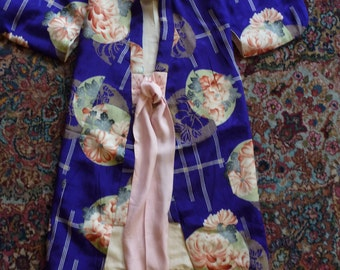 Vintage Girls Authentic Kimono Silk Purple Floral Tie Waist Robe Costume  6 7