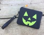 Jackolantern Bag, Pumpkin Bag, Pumpkin Wristlet, Jackolantern Wristlet, Halloween Bag, Halloween Wristlet