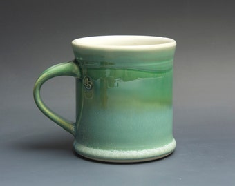 Pottery coffee mug, ceramic mug, stoneware tea cup jade green 14 oz 3723
