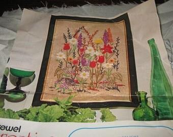 Vintage 1974 GARDEN DELIGHT Crewel Creative Stitchery Kit 635B Partly Done