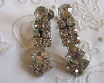 Vintage Silver Tone Drop Style Screw Back Earrings Covered with Clear Faceted Rhinestones