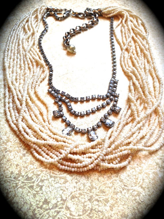 Chunky Bib Necklace made with vintage pearls and rhinestones, handmade gift