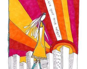 Walk Your True Height. Art print by Rachel Awes.
