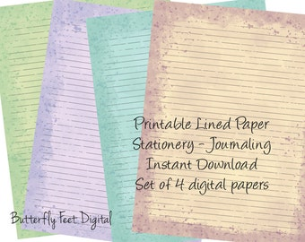 Printable Art Journal Pages, Lined Paper, Stationery, Watercolor Splash, Letter Size Inked Up Paper, Instant Download