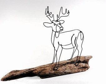 Deer Wire Sculpture, Deer Wire Art, Trophy Buck Wire Sculpture, Stag Art, 494385065