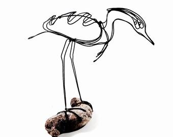 Heron Wire Sculpture, Bird Wire Art, Folk Art, 488787524