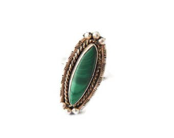 Antique Sterling Silver And Malachite Ring c.1930
