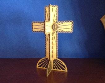 3D Standing Chain Cross - Golden Oak