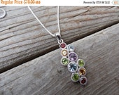 ON SALE HOLD For Lori Multi stone necklace handmade in sterling silver with garnet, amethyst, citrine and peridot and blue topaz