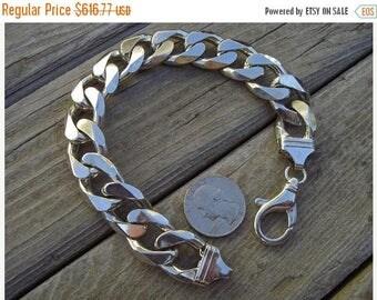ON SALE Very heavy curb bracelet in sterling silver