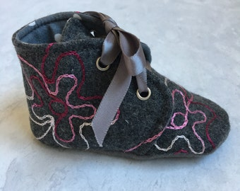 Grey wool boot embroidery pink and gray toddler shoes soft sole infant boot lace up shoe with ties- Grey Days