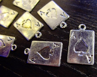 Destash (10) Ace Playing Card Charms - for pendants, jewelry making, crafts, scrapbooking