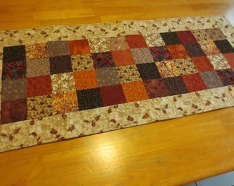Quilted Autumn Table Runner, Scrappy Fabrics