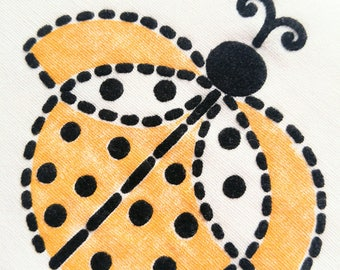 Vintage Novelty Fabric  Flocked Yellow Black Ladybug Lady Beetle 1960