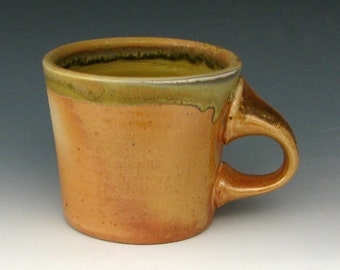 WOODFIRED COFFEE MUG #7 - Wood Fired Pottery - Wood Fired Mugs - Ash Glazed Pottery - Stoneware Mug - Pottery Mug - Studio Pottery