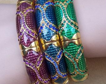 Vintage Joan Rivers enamel rhinestone clamper bracelet Classic Collection choice of blue, green or purple (AAE)