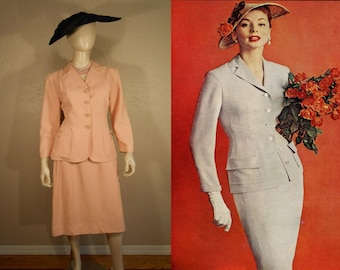 Into His Arms She Fell - Vintage 1950s Venus Shell Pink Rayon Suit - 8