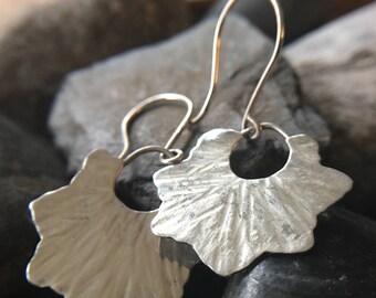 Hammered Rustic Star Simple Dangle Bohemian silver Earrings