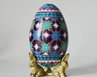Mother's day gift Goose Egg Pysanka geometric flowers in pink and Amethyst purple spectacular patterns