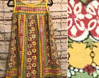 Breezy Boho Batik Vintage Summer Festival Tent Dress