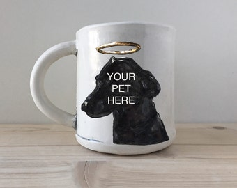 Custom Pet Portrait Mug with Golden Halo | real 22K gold lustre glaze added to your pet's portrait | memorial keepsake handmade pottery