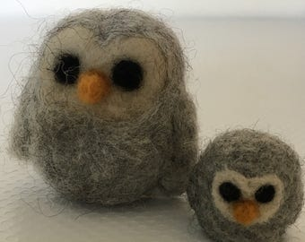 Mom and Baby Owl Needlefelted Miniature