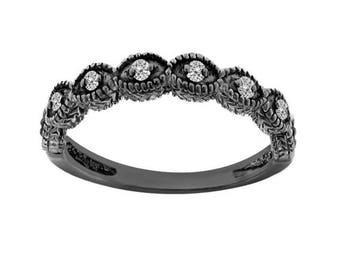 ON SALE Diamond Wedding Band Vintage Style 14K Black Gold Antique Style Engraved 0.11 Carat