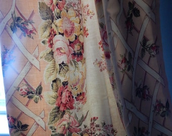 Exquisite Pair of Vintage Shabby Rose  Curtain Panels