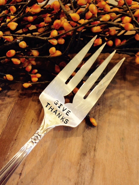 Vintage Silverware Large GIVE THANKS Serving Fork Thanksgiving Christmas