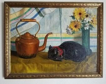 Antique Vintage Black Cat Feline Kitten Figural Still Life Painting Art Deco Mission Era Arts & Crafts c. 1930s Depression