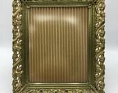 Vintage Large Metal Frame 8x10, Gold Filigree, Easel Back