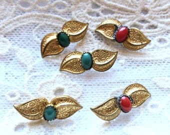 Antique Gold Metal Leaf Buttons, Red and Green Stones, Unusual Gold Buttons, Metal loop shanks, 21mm x 8mm, Button Jewelry, 1930's, leaves