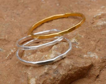 Gold Ring Silver Ring Simple Ring Gold Band Gold Stack Ring Silver Stack Ring Dainty Ring Stacking Ring Hammered Ring