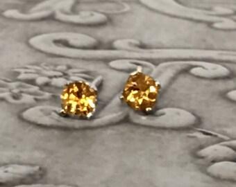 10K Yellow Gold Citrine Earrings Gorgeous Vintage
