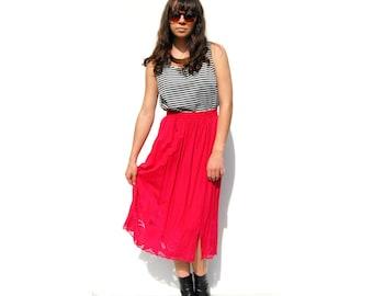 SALE!!!!!!!! Hot pink midi elastic waist skirt with crochet lace
