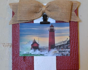 Nautical Rustic Wood Clip Photo Frame, Photo Clip Board, Photo Display Frame, Salvaged Wood Clip Frame, Red & White, Patriotic Decor, Frame