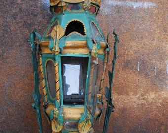 Vintage gondola lantern candle holder Shabby French Country Tole leafy tin architectural salvage light lamp post