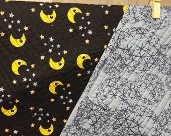 Moon and stars baby quilt, wholecloth quilt, baby gift, baby blanket, baby bedding, baby boy, baby girl, gender neutral,