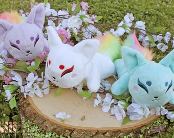 Rainbow Fox Kitsune Kawaii Handmade Plush Doll