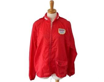sale // Vintage 1988 USA Olympics Windbreaker Jacket Coat  // Men M, Sears, red