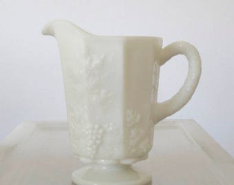 Westmoreland Milk Glass Paneled Grape Creamer