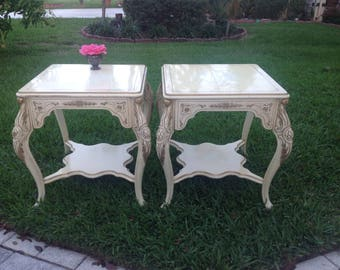 """BAROQUE ROCOCO Style Side Tables 25"""" x 25""""  French style Lacquered Rococo Side Tables / 60's Pair of Ornate Side Tables  at Retro Daisy Girl"""